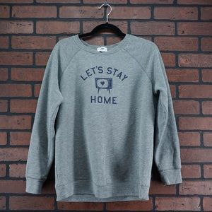 OLD NAVY Let's Stay Home Graphic Sweatshirt Gray